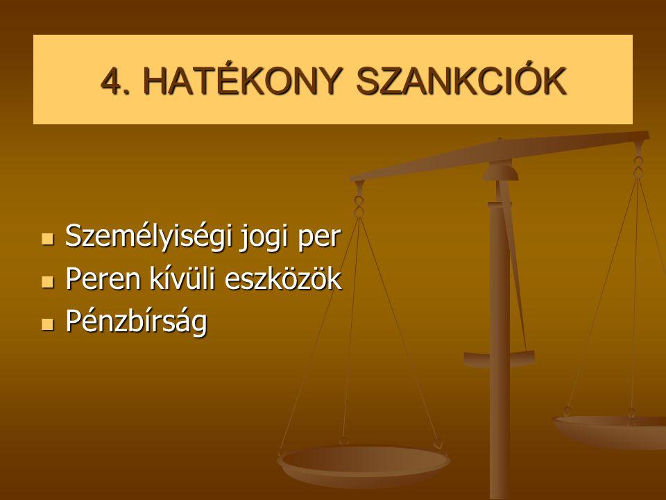 4. HATÉKONY SZANKCIÓK  Személyiségi jogi per  Peren kívüli eszközök  Pénzbírság