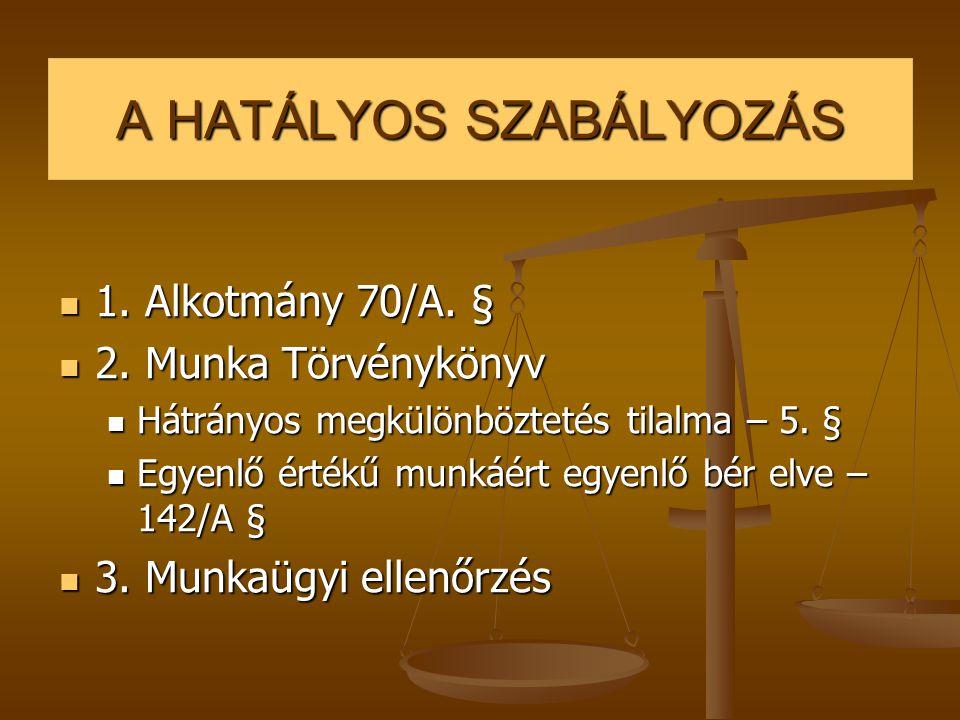 A HATÁLYOS SZABÁLYOZÁS  1. Alkotmány 70/A. §  2. Munka Törvénykönyv  Hátrányos megkülönböztetés tilalma – 5. §  Egyenlő értékű munkáért egyenlő bé