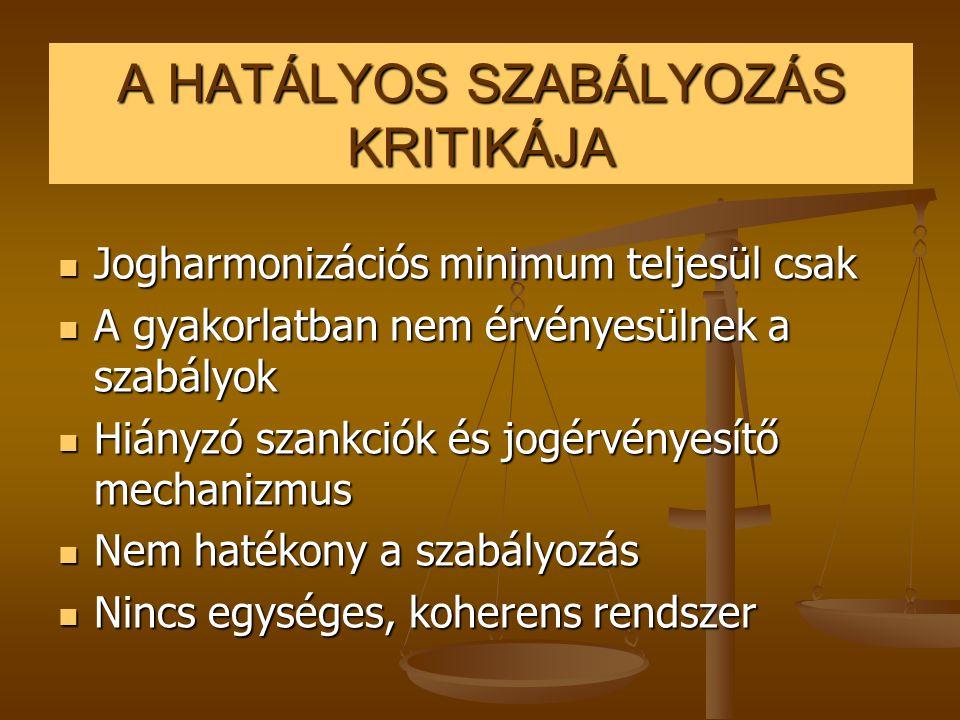 A HATÁLYOS SZABÁLYOZÁS KRITIKÁJA  Jogharmonizációs minimum teljesül csak  A gyakorlatban nem érvényesülnek a szabályok  Hiányzó szankciók és jogérv