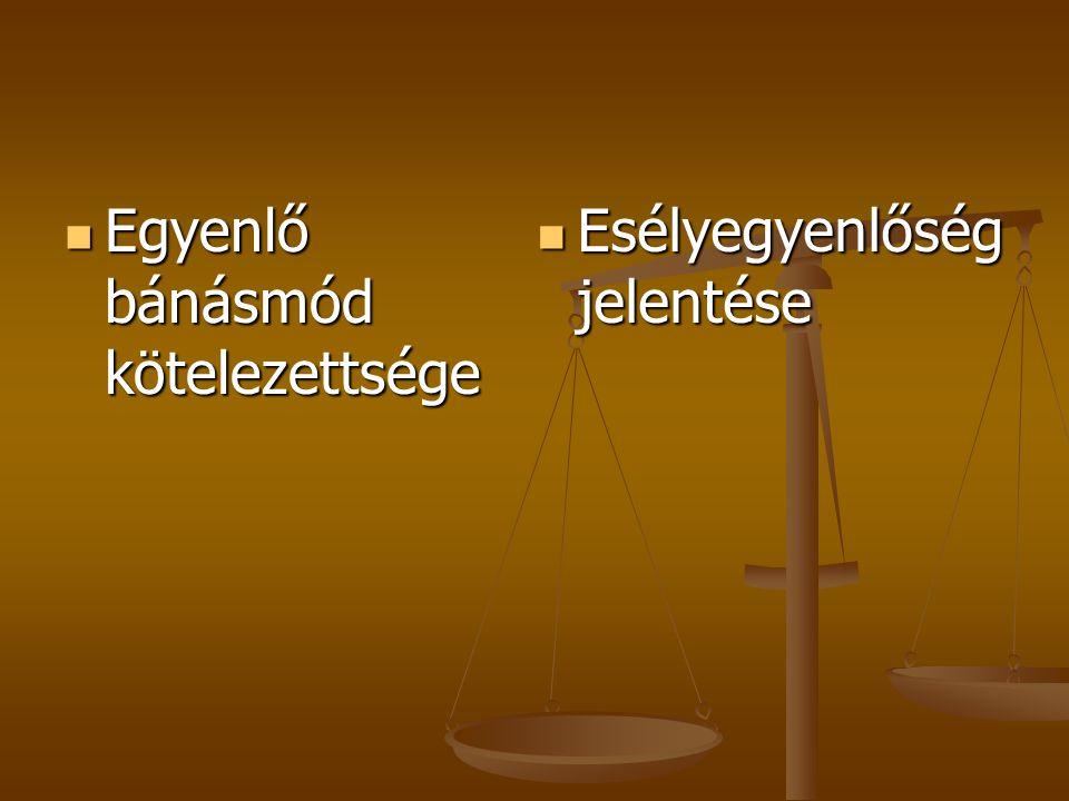  Egyenlő bánásmód kötelezettsége  Esélyegyenlőség jelentése