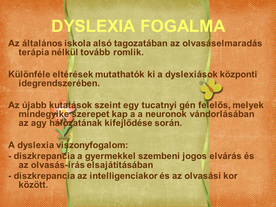 DYSLEXIA FOGALMA Az általános iskola alsó tagozatában az olvasáselmaradás terápia nélkül tovább romlik. Különféle eltérések mutathatók ki a dyslexiáso