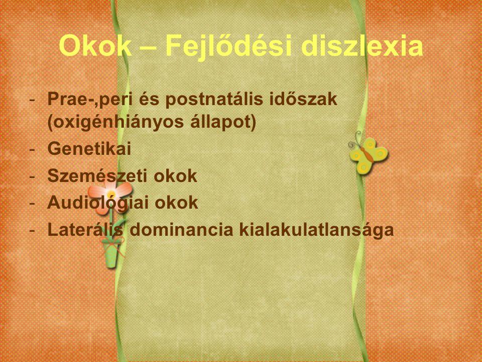 Okok – Fejlődési diszlexia -Prae-,peri és postnatális időszak (oxigénhiányos állapot) -Genetikai -Szemészeti okok -Audiológiai okok -Laterális dominan