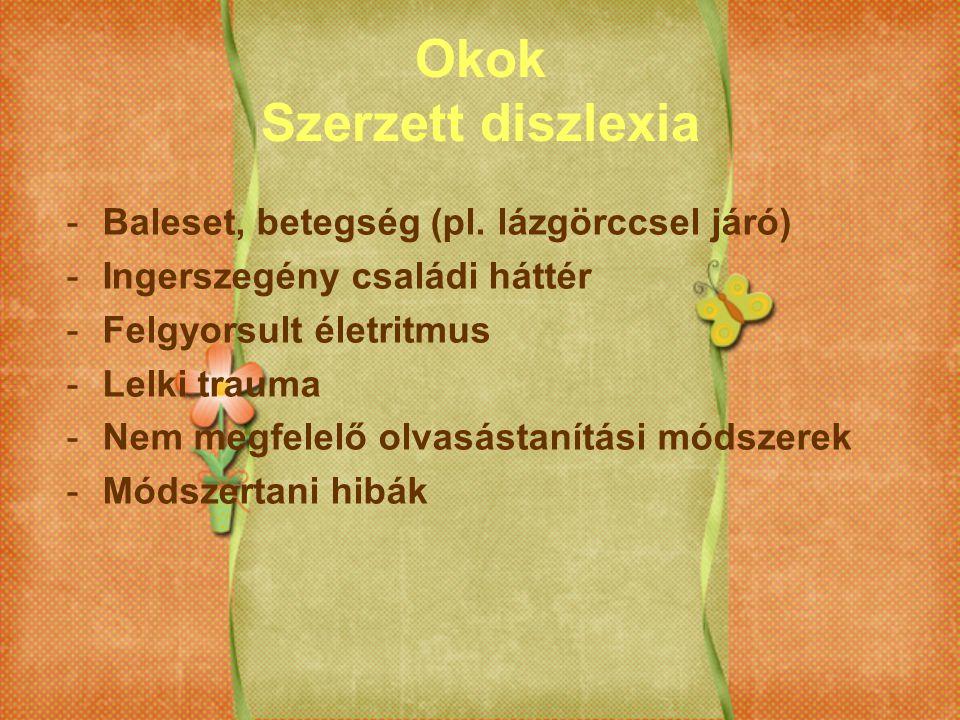 Okok Szerzett diszlexia -Baleset, betegség (pl. lázgörccsel járó) -Ingerszegény családi háttér -Felgyorsult életritmus -Lelki trauma -Nem megfelelő ol
