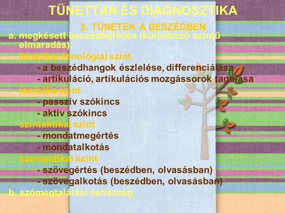 TÜNETTAN ÉS DIAGNOSZTIKA 5. TÜNETEK A BESZÉDBEN a. megkésett beszédfejlődés (különböző szintű elmaradás): fonetikai-fonológiai szint - a beszédhangok