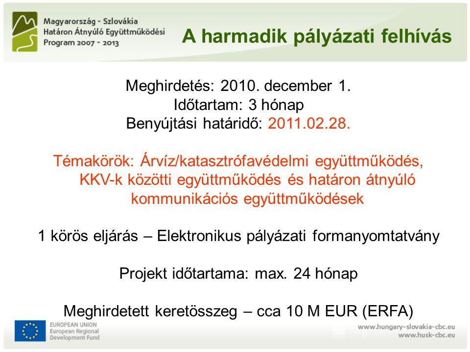 A harmadik pályázati felhívás Meghirdetés: 2010. december 1. Időtartam: 3 hónap Benyújtási határidő: 2011.02.28. Témakörök: Árvíz/katasztrófavédelmi e