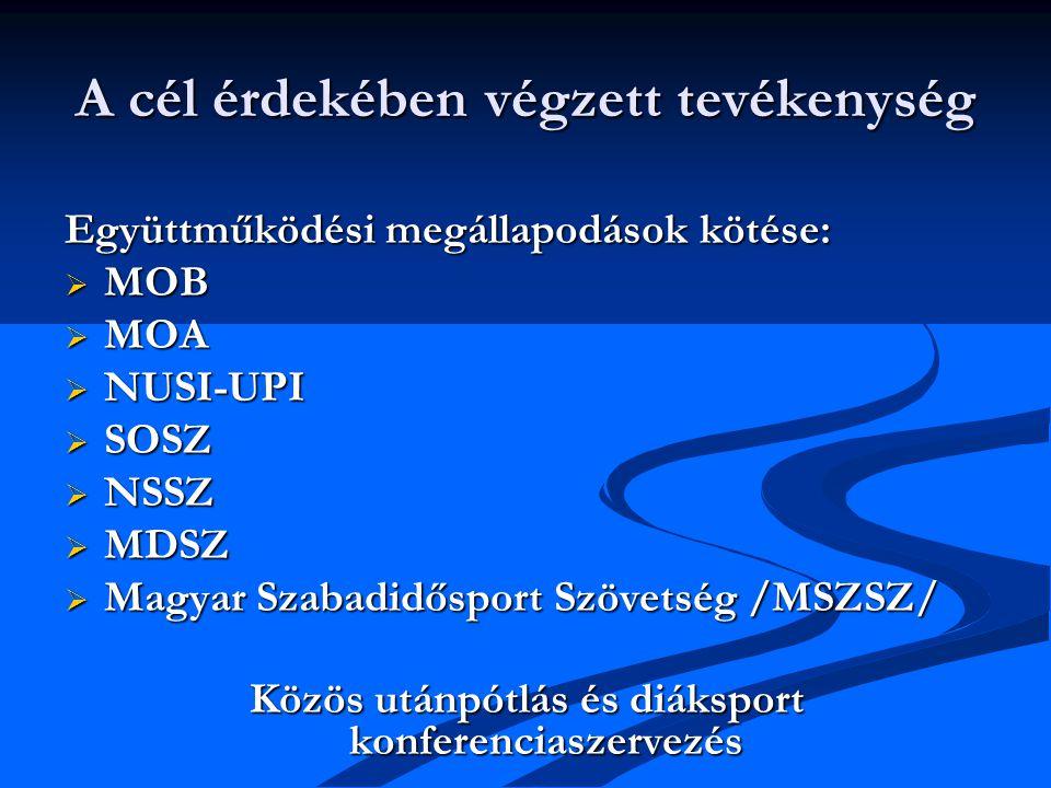 A cél érdekében végzett tevékenység Együttműködési megállapodások kötése:  MOB  MOA  NUSI-UPI  SOSZ  NSSZ  MDSZ  Magyar Szabadidősport Szövetség /MSZSZ/ Közös utánpótlás és diáksport konferenciaszervezés