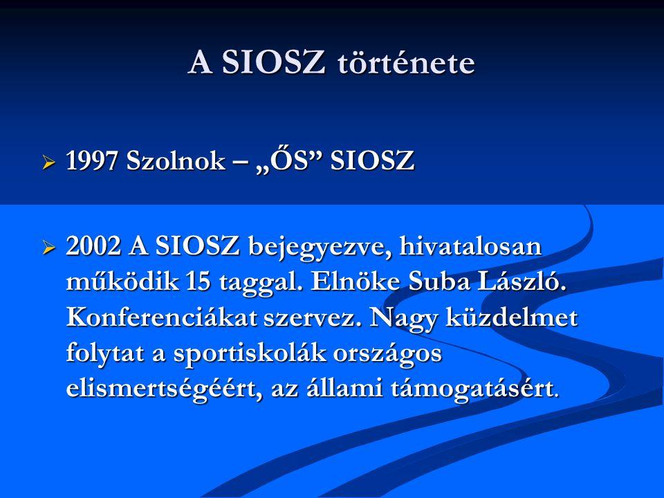 """A SIOSZ története  1997 Szolnok – """"ŐS SIOSZ  2002 A SIOSZ bejegyezve, hivatalosan működik 15 taggal."""