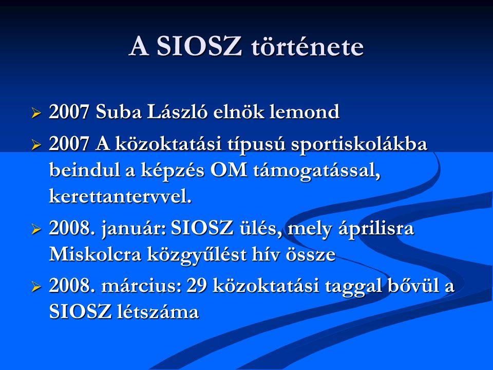 A SIOSZ története  2007 Suba László elnök lemond  2007 A közoktatási típusú sportiskolákba beindul a képzés OM támogatással, kerettantervvel.