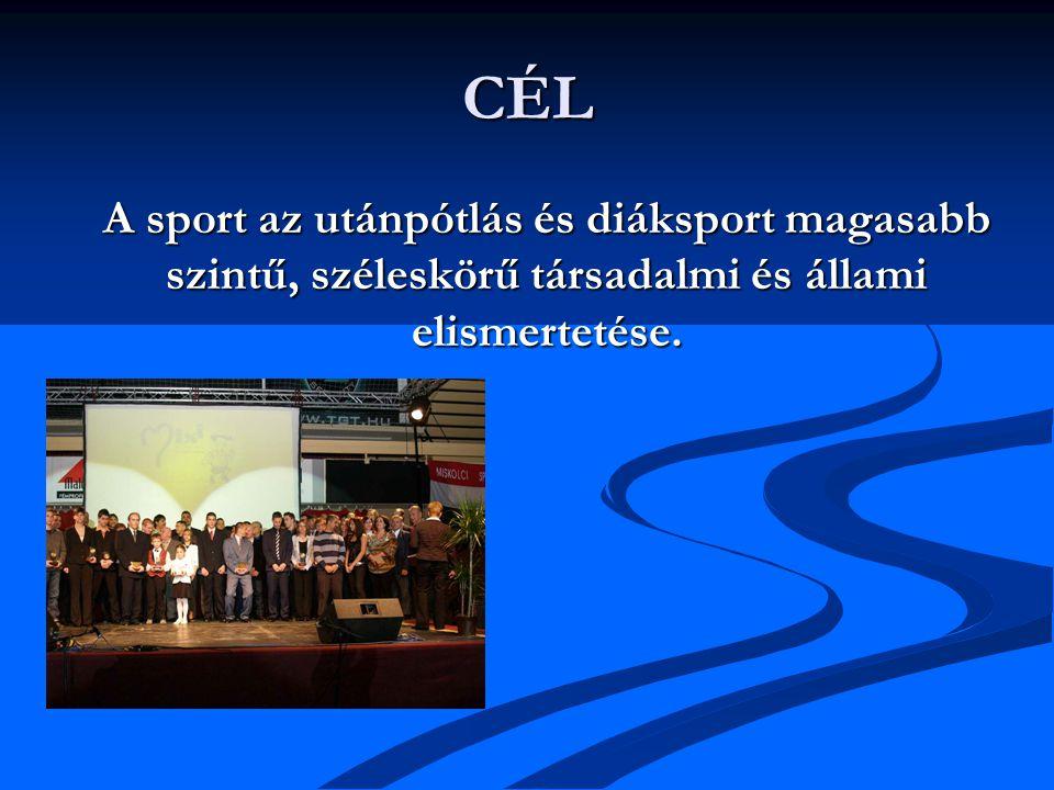 CÉL A sport az utánpótlás és diáksport magasabb szintű, széleskörű társadalmi és állami elismertetése.