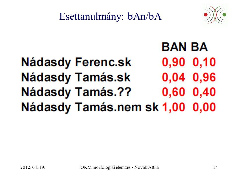 2012. 04. 19.ÓKM morfológiai elemzés - Novák Attila14 Esettanulmány: bAn/bA