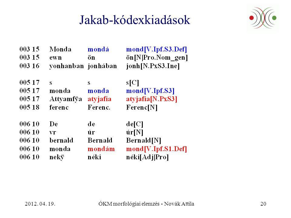 2012. 04. 19.ÓKM morfológiai elemzés - Novák Attila20 Jakab-kódexkiadások