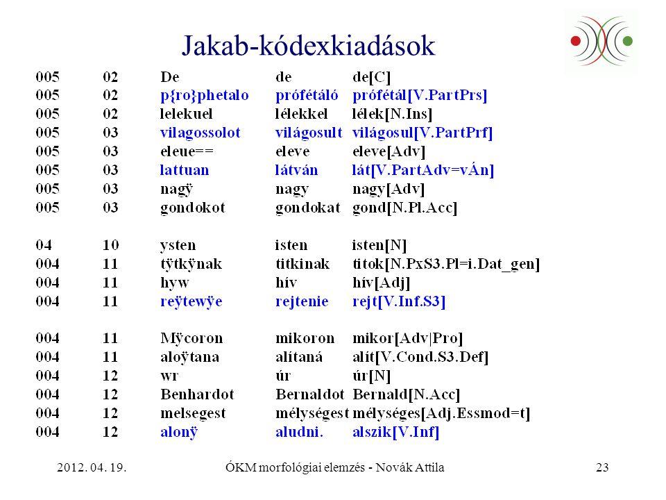 2012. 04. 19.ÓKM morfológiai elemzés - Novák Attila23 Jakab-kódexkiadások