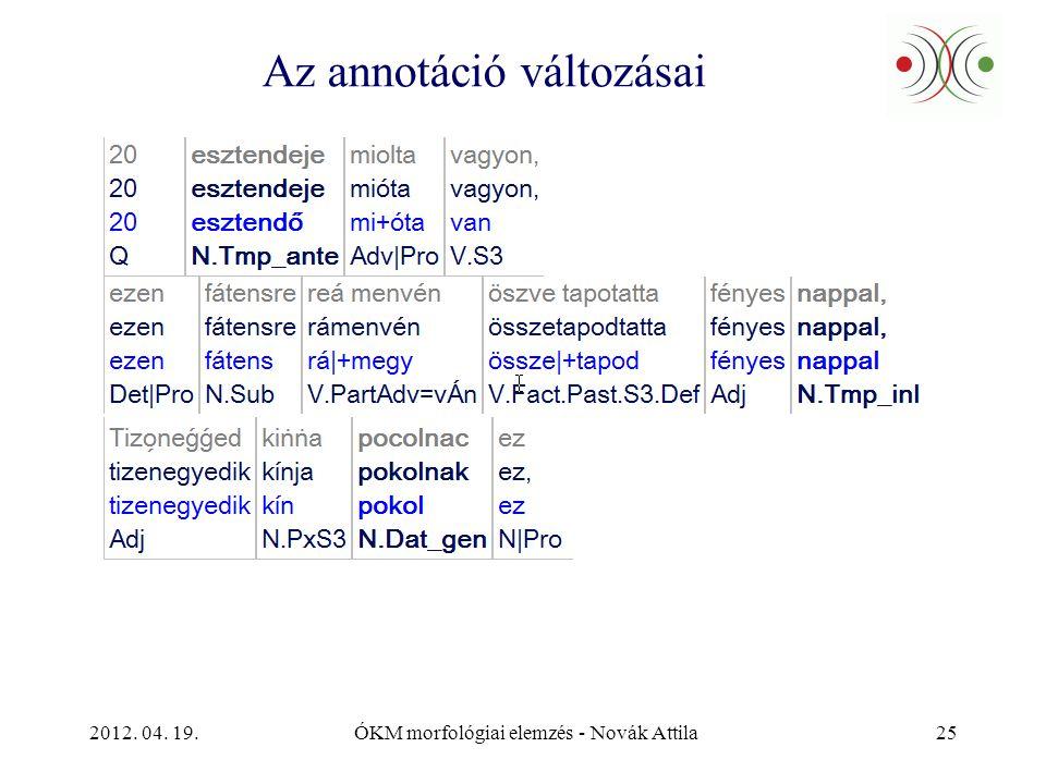2012. 04. 19.ÓKM morfológiai elemzés - Novák Attila25 Az annotáció változásai