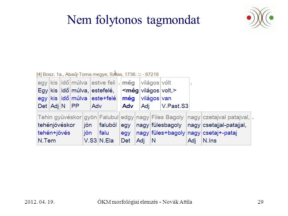 2012. 04. 19.ÓKM morfológiai elemzés - Novák Attila29 Nem folytonos tagmondat