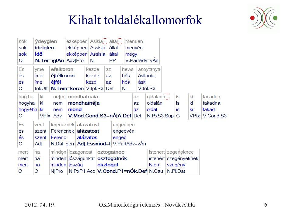2012. 04. 19.ÓKM morfológiai elemzés - Novák Attila7 Kihalt toldalékmorfémák