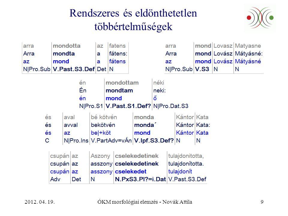 2012. 04. 19.ÓKM morfológiai elemzés - Novák Attila9 Rendszeres és eldönthetetlen többértelműségek