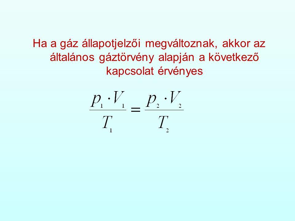 Ha a gáz állapotjelzői megváltoznak, akkor az általános gáztörvény alapján a következő kapcsolat érvényes