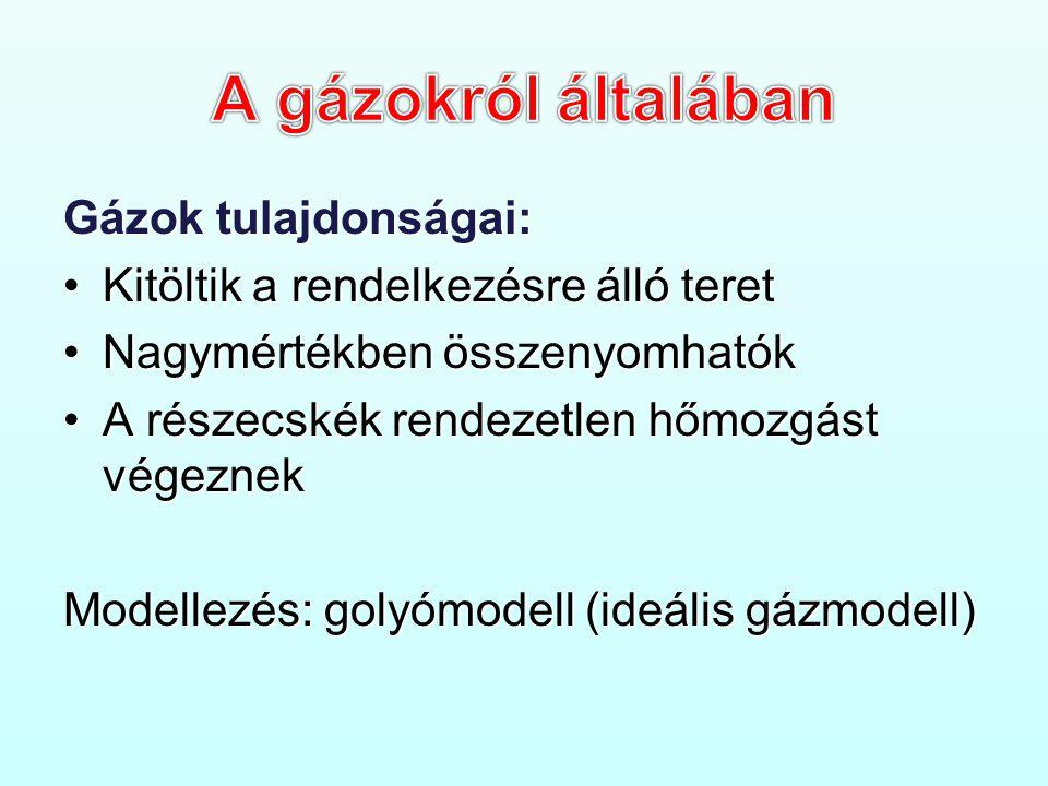 Gázok tulajdonságai: •Kitöltik a rendelkezésre álló teret •Nagymértékben összenyomhatók •A részecskék rendezetlen hőmozgást végeznek Modellezés: golyómodell (ideális gázmodell)