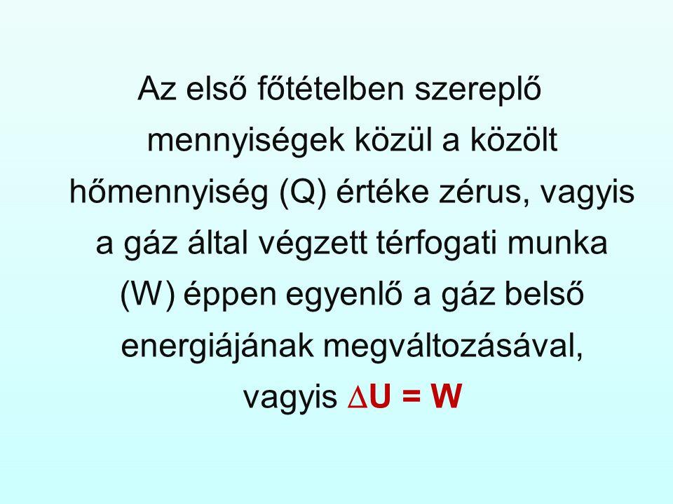 Az első főtételben szereplő mennyiségek közül a közölt hőmennyiség (Q) értéke zérus, vagyis a gáz által végzett térfogati munka (W) éppen egyenlő a gáz belső energiájának megváltozásával, vagyis  U = W