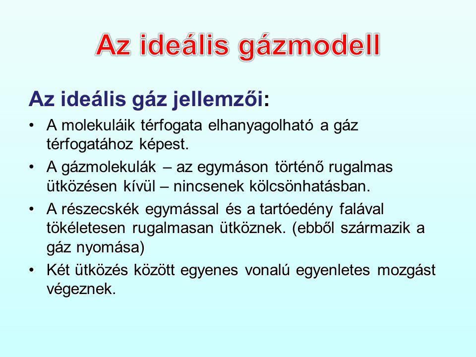 Az ideális gáz jellemzői: •A molekuláik térfogata elhanyagolható a gáz térfogatához képest.