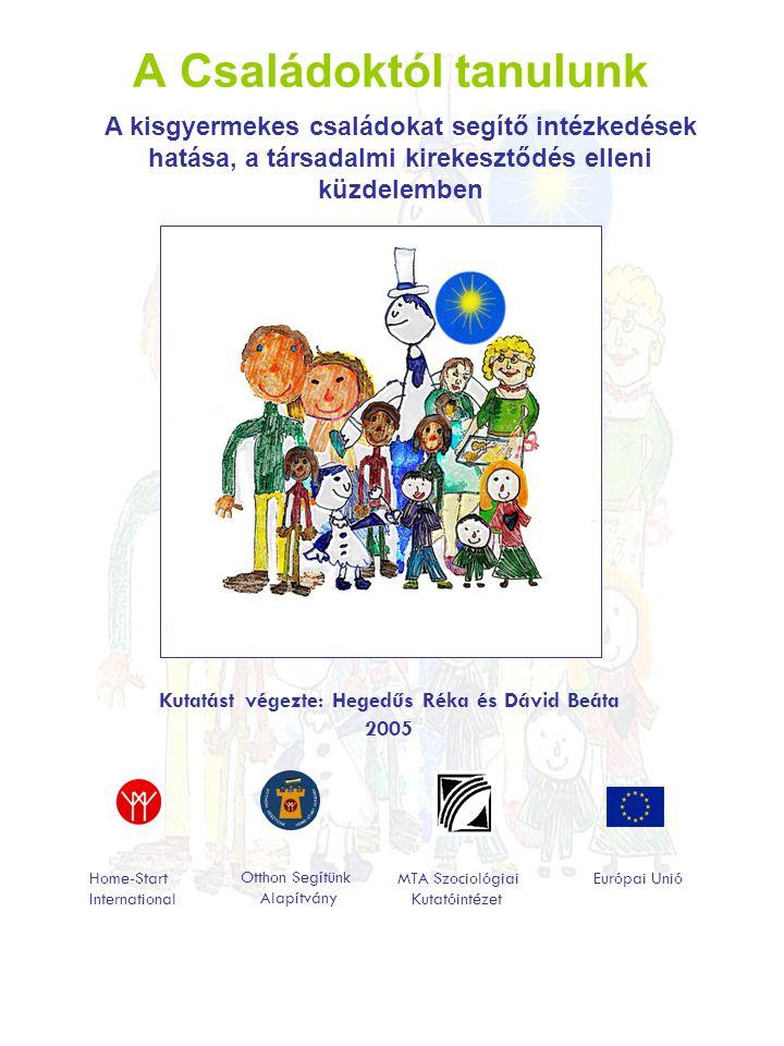 A Családoktól tanulunk Kutatást végezte: Hegedűs Réka és Dávid Beáta 2005 Home-Start International Otthon Segítünk Alapítvány MTA Szociológiai Kutatóintézet Európai Unió A kisgyermekes családokat segítő intézkedések hatása, a társadalmi kirekesztődés elleni küzdelemben