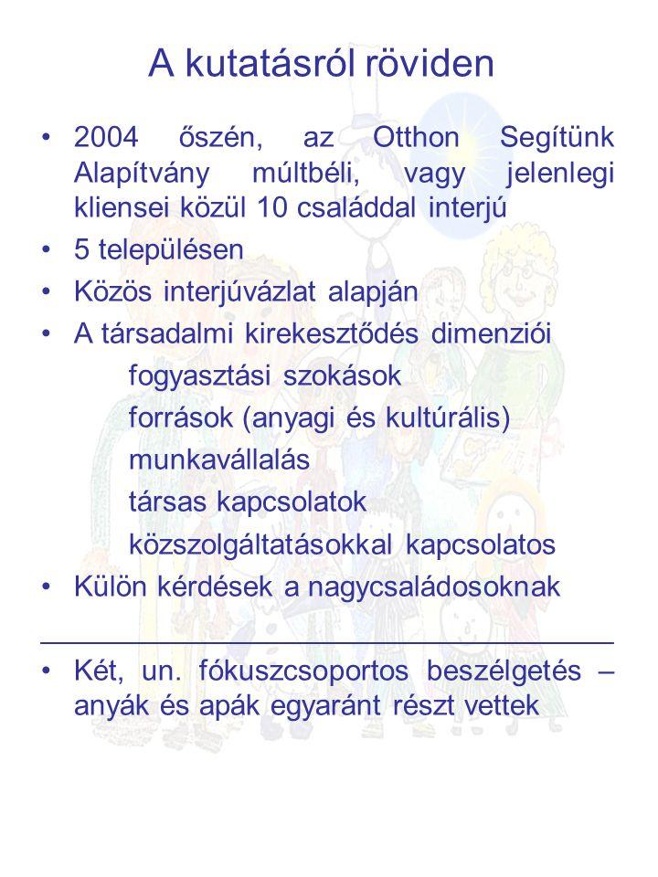 A kutatásról röviden •2004 őszén, az Otthon Segítünk Alapítvány múltbéli, vagy jelenlegi kliensei közül 10 családdal interjú •5 településen •Közös interjúvázlat alapján •A társadalmi kirekesztődés dimenziói fogyasztási szokások források (anyagi és kultúrális) munkavállalás társas kapcsolatok közszolgáltatásokkal kapcsolatos •Külön kérdések a nagycsaládosoknak ___________________________________ •Két, un.