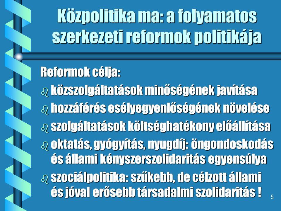 5 Közpolitika ma: a folyamatos szerkezeti reformok politikája Reformok célja: b közszolgáltatások minőségének javítása b hozzáférés esélyegyenlőségének növelése b szolgáltatások költséghatékony előállítása b oktatás, gyógyítás, nyugdíj: öngondoskodás és állami kényszerszolidaritás egyensúlya b szociálpolitika: szűkebb, de célzott állami és jóval erősebb társadalmi szolidaritás !