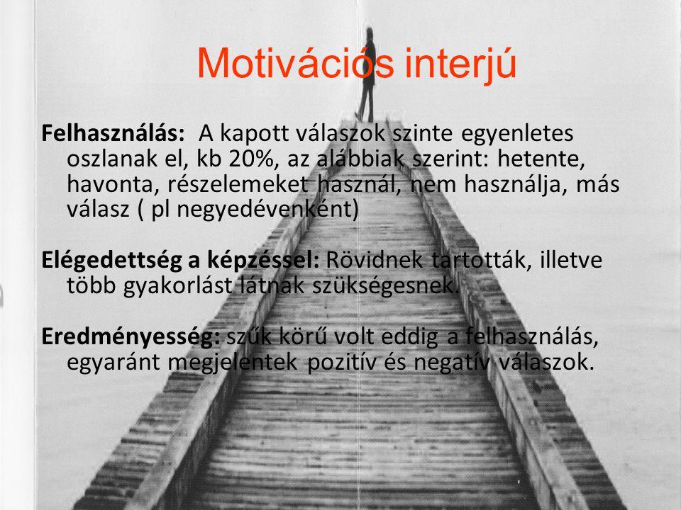 Motivációs interjú Felhasználás: A kapott válaszok szinte egyenletes oszlanak el, kb 20%, az alábbiak szerint: hetente, havonta, részelemeket használ,