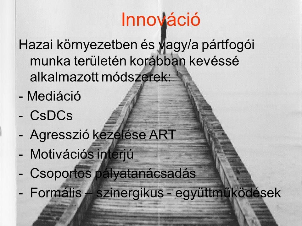 Innováció Hazai környezetben és vagy/a pártfogói munka területén korábban kevéssé alkalmazott módszerek: - Mediáció -CsDCs -Agresszió kezelése ART -Mo