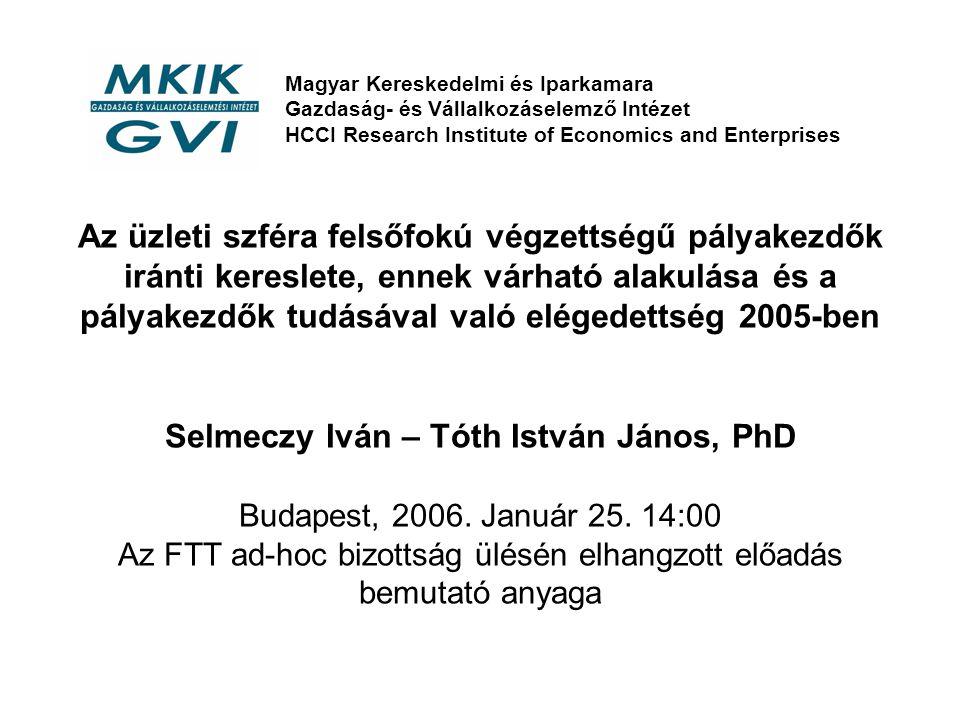 Az üzleti szféra felsőfokú végzettségű pályakezdők iránti kereslete, ennek várható alakulása és a pályakezdők tudásával való elégedettség 2005-ben Selmeczy Iván – Tóth István János, PhD Budapest, 2006.