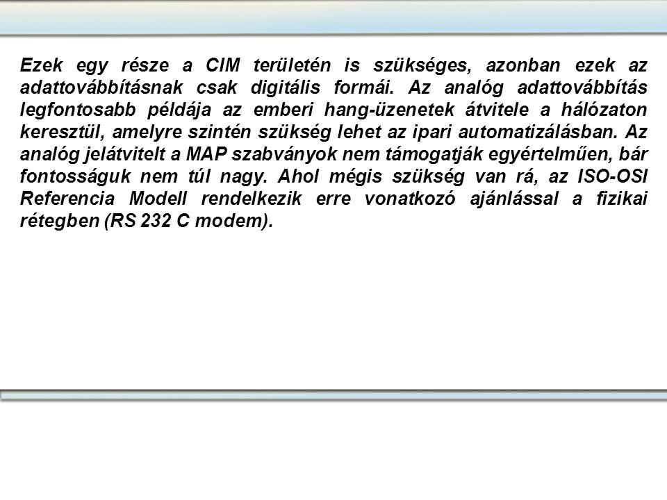 Ezek egy része a CIM területén is szükséges, azonban ezek az adattovábbításnak csak digitális formái. Az analóg adattovábbítás legfontosabb példája az