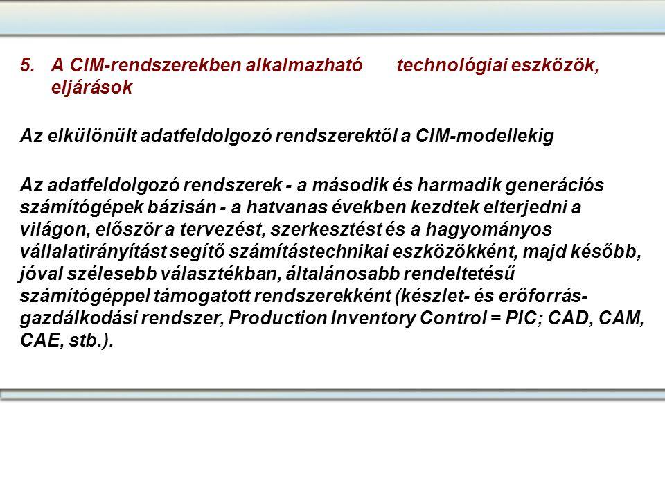 5. A CIM-rendszerekben alkalmazható technológiai eszközök, eljárások Az elkülönült adatfeldolgozó rendszerektől a CIM-modellekig Az adatfeldolgozó ren