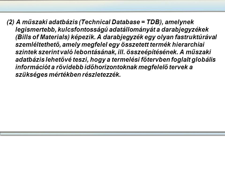 (2) A műszaki adatbázis (Technical Database = TDB), amelynek legismertebb, kulcsfontosságú adatállományát a darabjegyzékek (Bills of Materials) képezi
