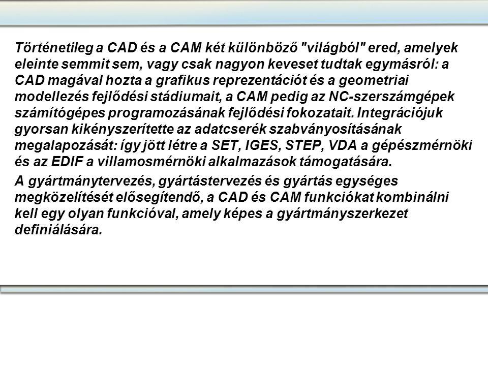 Történetileg a CAD és a CAM két különböző