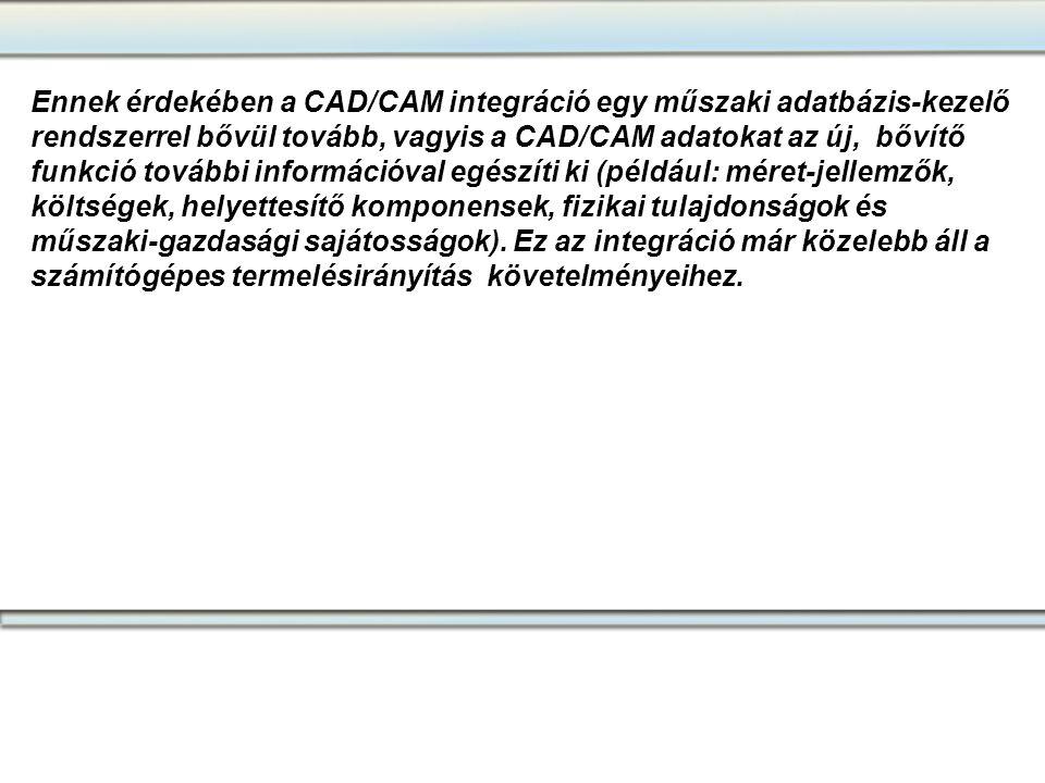 Ennek érdekében a CAD/CAM integráció egy műszaki adatbázis-kezelő rendszerrel bővül tovább, vagyis a CAD/CAM adatokat az új, bővítő funkció további in