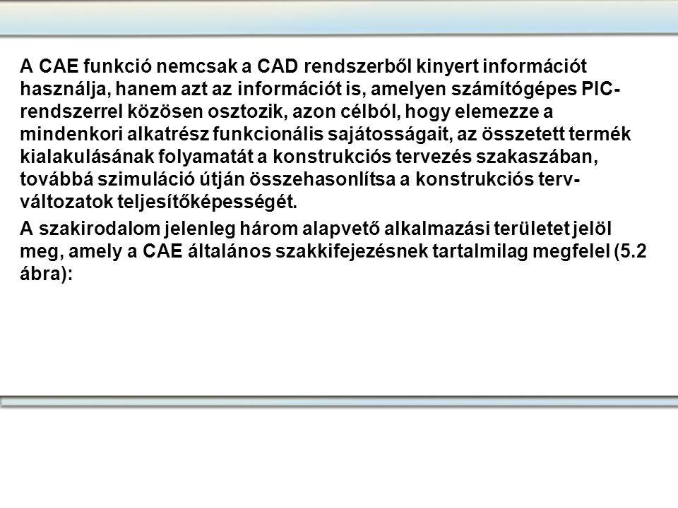 A CAE funkció nemcsak a CAD rendszerből kinyert információt használja, hanem azt az információt is, amelyen számítógépes PIC- rendszerrel közösen oszt
