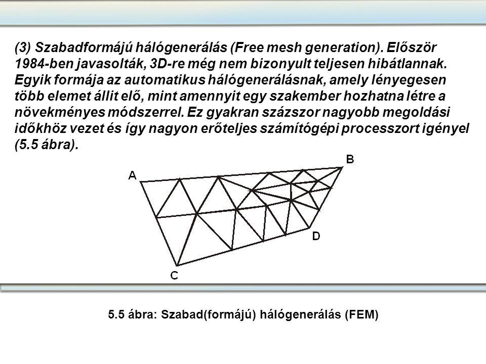(3) Szabadformájú hálógenerálás (Free mesh generation). Először 1984-ben javasolták, 3D-re még nem bizonyult teljesen hibátlannak. Egyik formája az au