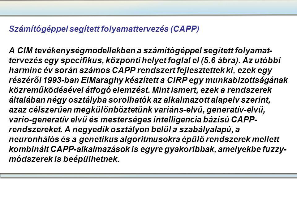 Számítógéppel segített folyamattervezés (CAPP) A CIM tevékenységmodellekben a számítógéppel segített folyamat- tervezés egy specifikus, központi helye