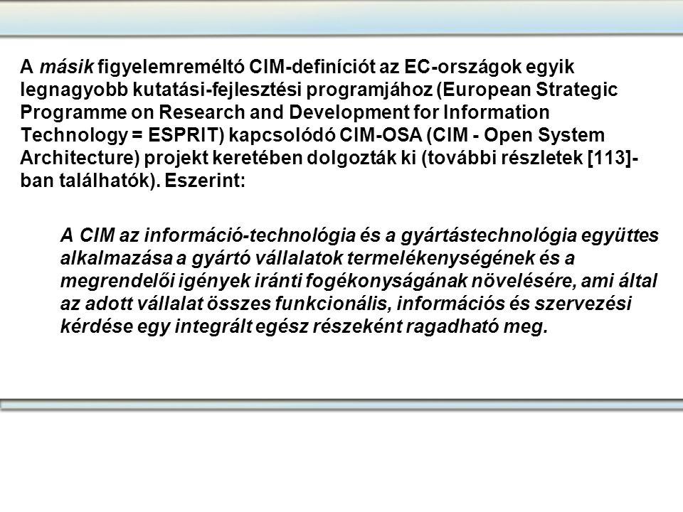 A másik figyelemreméltó CIM-definíciót az EC-országok egyik legnagyobb kutatási-fejlesztési programjához (European Strategic Programme on Research and