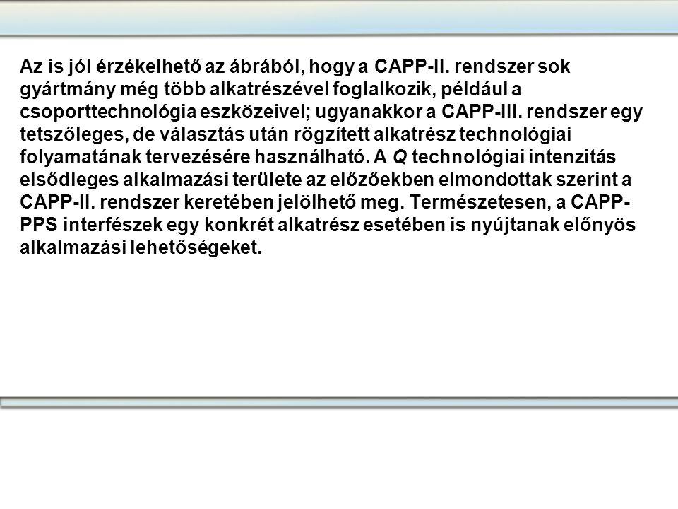 Az is jól érzékelhető az ábrából, hogy a CAPP-II. rendszer sok gyártmány még több alkatrészével foglalkozik, például a csoporttechnológia eszközeivel;