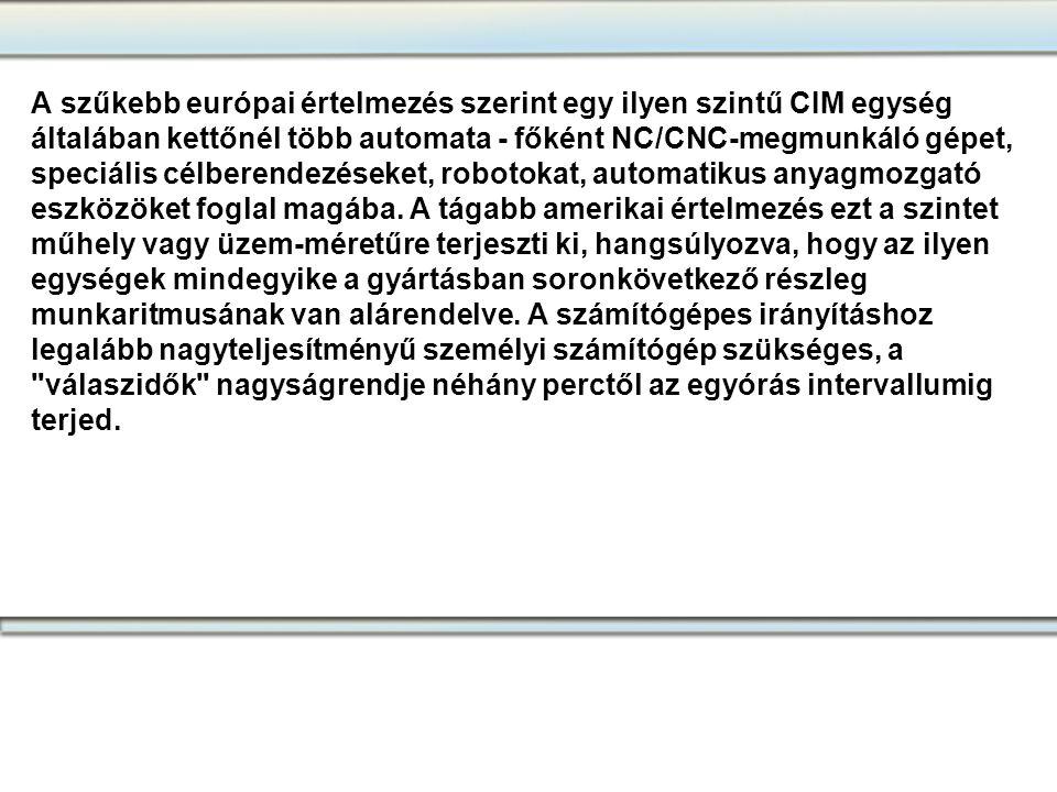 A szűkebb európai értelmezés szerint egy ilyen szintű CIM egység általában kettőnél több automata - főként NC/CNC-megmunkáló gépet, speciális célberen