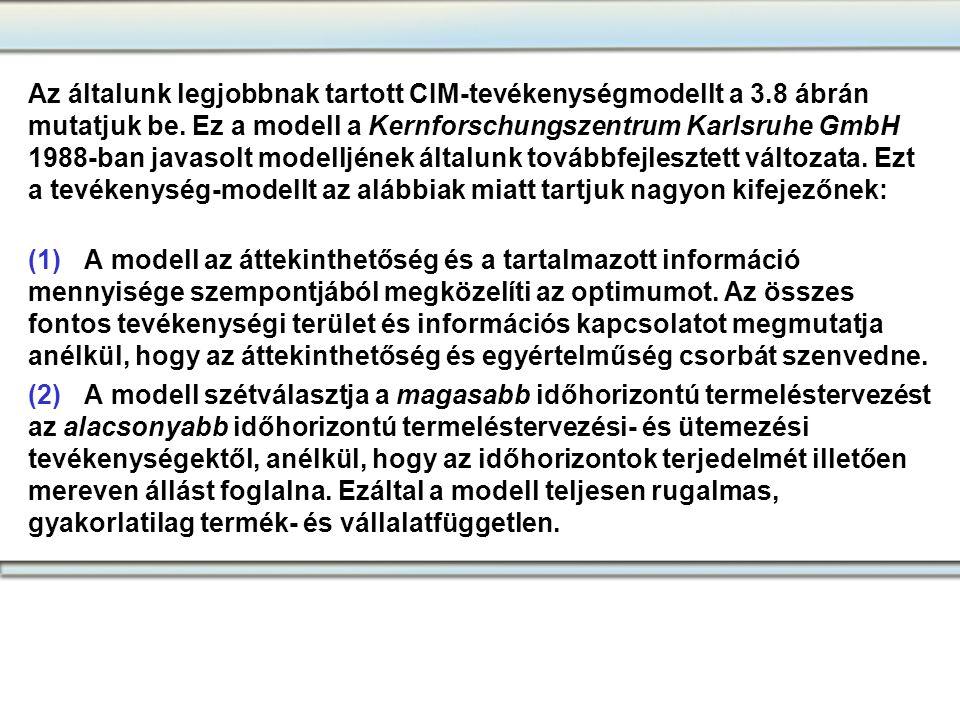 Az általunk legjobbnak tartott CIM-tevékenységmodellt a 3.8 ábrán mutatjuk be. Ez a modell a Kernforschungszentrum Karlsruhe GmbH 1988-ban javasolt mo