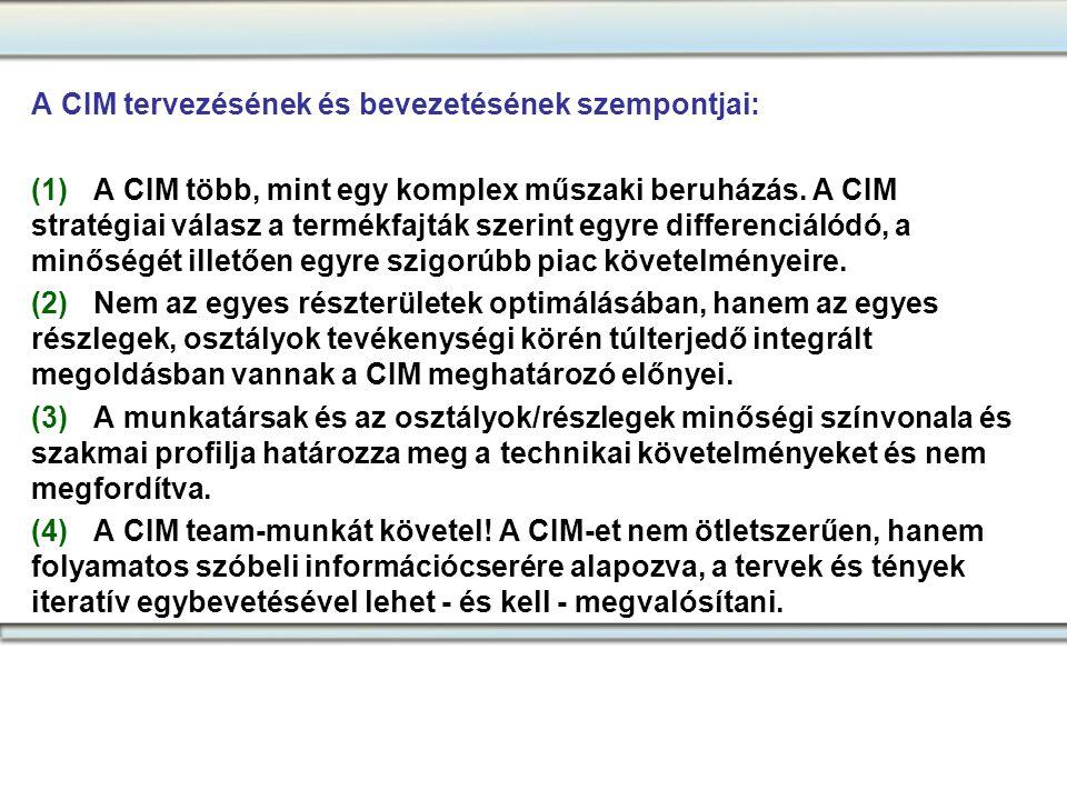 A CIM tervezésének és bevezetésének szempontjai: (1)A CIM több, mint egy komplex műszaki beruházás. A CIM stratégiai válasz a termékfajták szerint egy