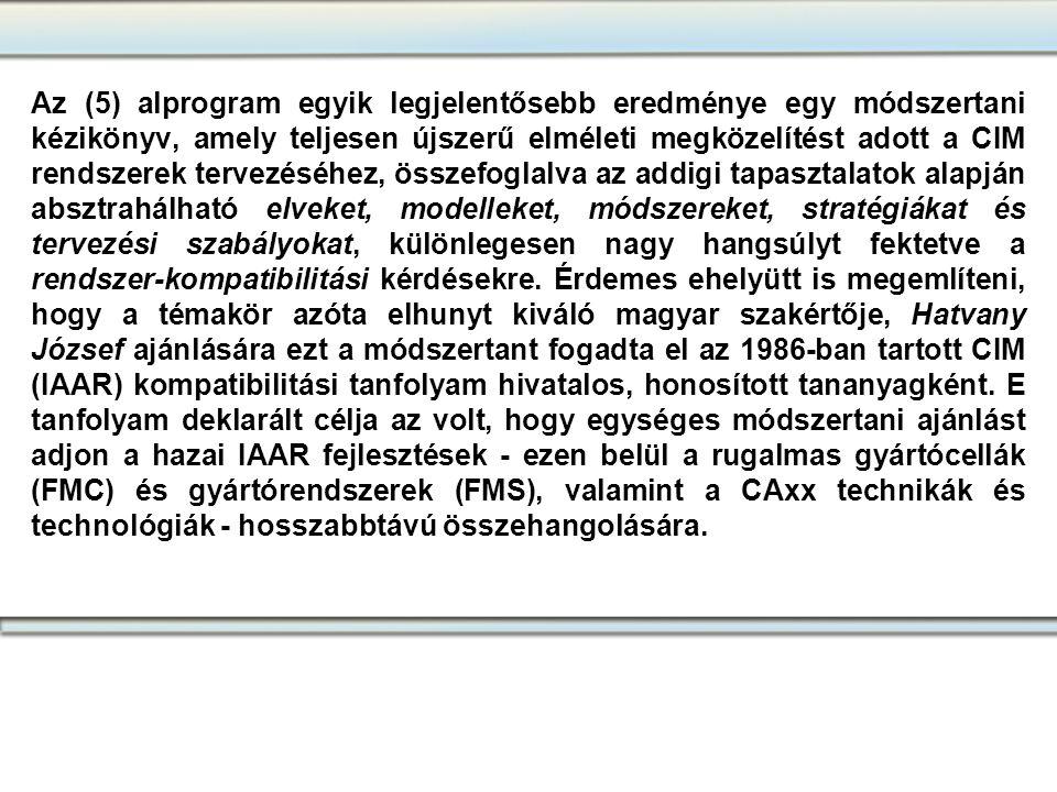 Az (5) alprogram egyik legjelentősebb eredménye egy módszertani kézikönyv, amely teljesen újszerű elméleti megközelítést adott a CIM rendszerek tervez