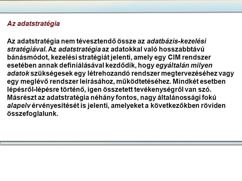 Az adatstratégia Az adatstratégia nem tévesztendő össze az adatbázis-kezelési stratégiával. Az adatstratégia az adatokkal való hosszabbtávú bánásmódot
