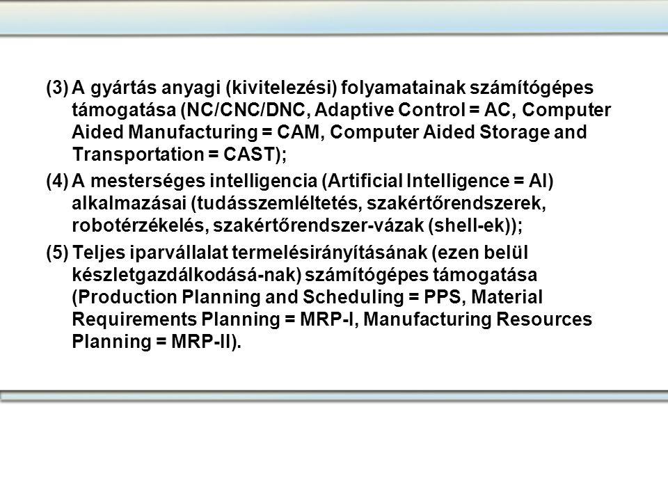 (3)A gyártás anyagi (kivitelezési) folyamatainak számítógépes támogatása (NC/CNC/DNC, Adaptive Control = AC, Computer Aided Manufacturing = CAM, Compu