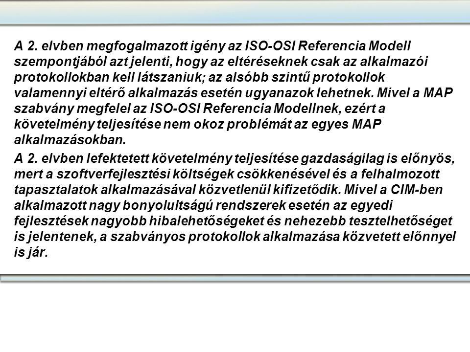 A 2. elvben megfogalmazott igény az ISO-OSI Referencia Modell szempontjából azt jelenti, hogy az eltéréseknek csak az alkalmazói protokollokban kell l