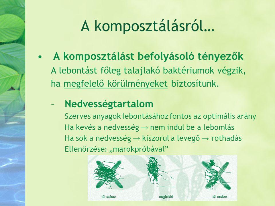 A komposztálásról… •A komposztálást befolyásoló tényezők A lebontást főleg talajlakó baktériumok végzik, ha megfelelő körülményeket biztosítunk. –Nedv