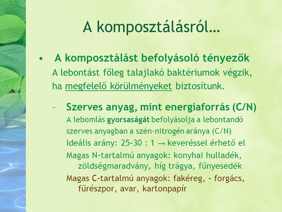 A komposztálásról… •A komposztálást befolyásoló tényezők A lebontást főleg talajlakó baktériumok végzik, ha megfelelő körülményeket biztosítunk. –Szer