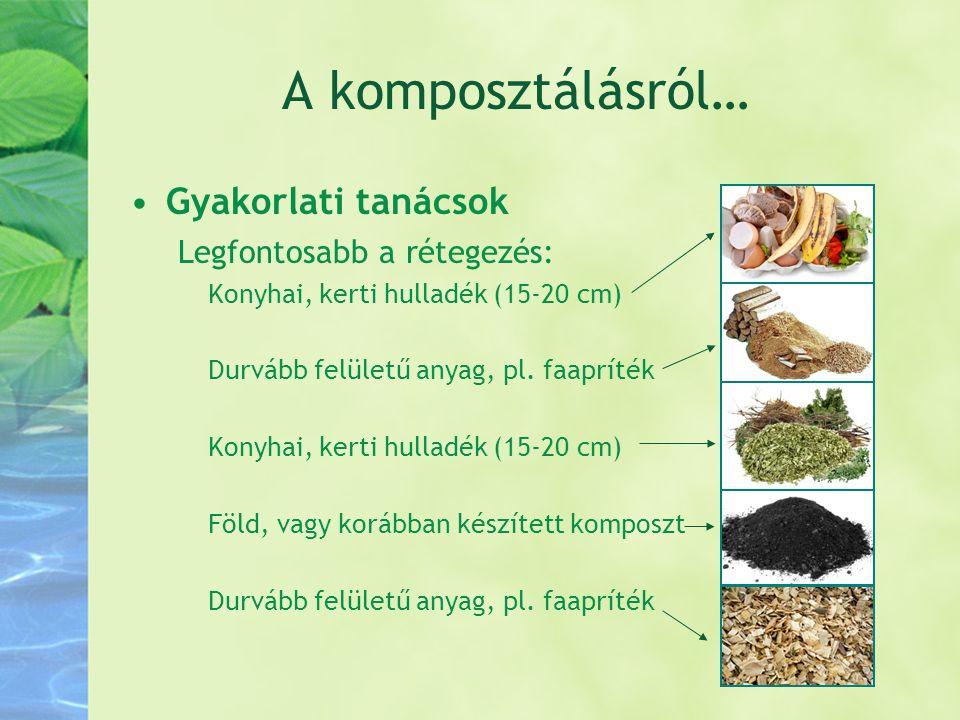 A komposztálásról… •Gyakorlati tanácsok Legfontosabb a rétegezés: Konyhai, kerti hulladék (15-20 cm) Durvább felületű anyag, pl. faapríték Konyhai, ke